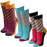 Lavazio 3 Paar Damen Socken Motiv Grafik in verschiedenen Farben, Farbe:mehrfarbig, Größe:39-42