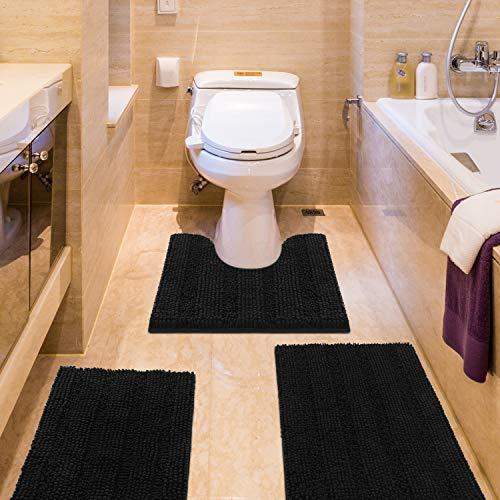 IM Home Striped Black Bathroom Rug Set 3 Pieces Ultra Soft, Non Slip Chenille Bath Carpet, Absorbent Plush Shaggy Bath Mats for Bathroom, Toilet,...