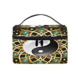 Xling Makeup Bag Chinese Traditional Yin Yang Cosmetic Case Travel Portable Carry Cosmetic Brush Box Organizer Storage for Women