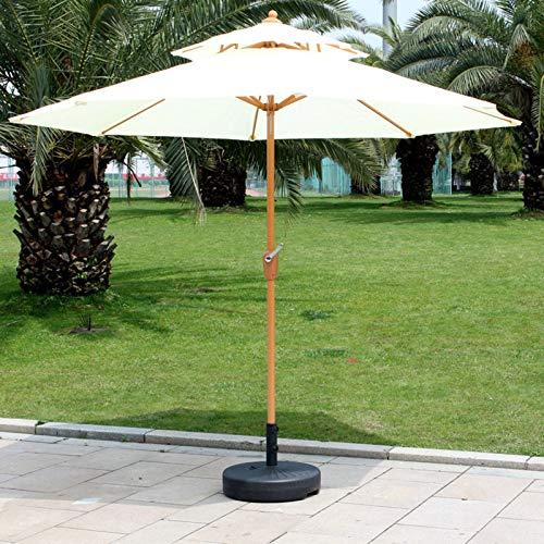 ERLAN Parasol Jardin 2,7 M Paraguas de Mesa de Mercado de Patio, Parasol Al Aire Libre de 2 Niveles para Jardín Terraza Patio Trasero y Piscina, Sistema de Elevación de Manivela (Color : Beige)