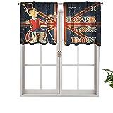 Hiiiman - Cortinas cortas, con texto 'I Love London con texto en inglés en el Reino Unido, juego de 1 cortina de ventana de 91,4 x 45,7 cm, para sala de estar