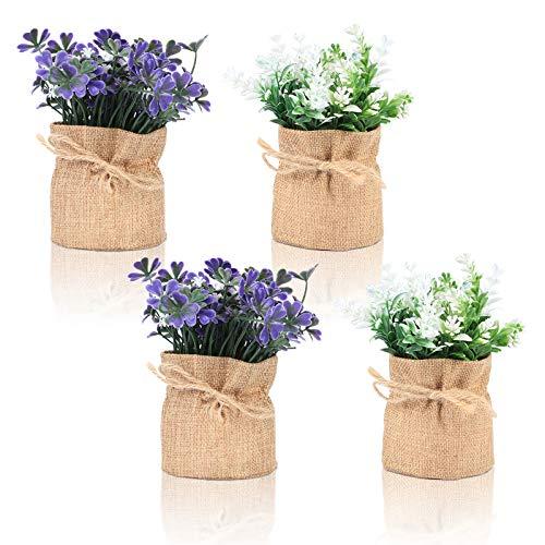 Planta falsa pequeña planta artificial de escritorio de flores de lavanda en arpillera decorativa para casa de granja, baño, hogar,...