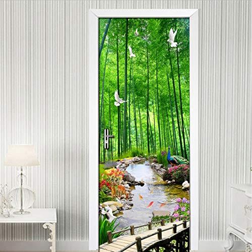 Ruifulex Türtapete Kreative DIY Selbstklebende Tür Aufkleber PVC wasserdichte Wandbild 3D Bambus Wald Landschaft Wandmalerei Wohnzimmer Tür Tapete
