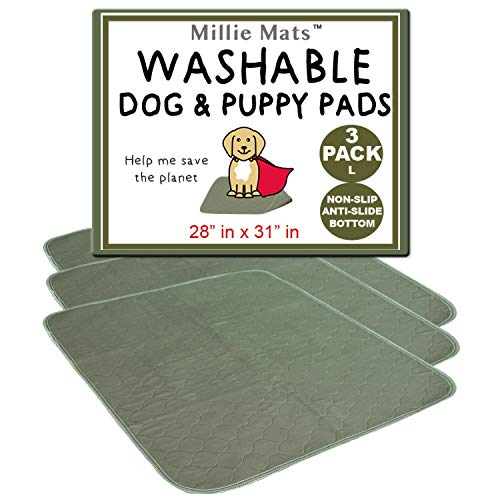 "Millie Mats Puppy Pads Washable Dog Training Pee Pads Absorbent Use in Crate, Travelling in Car, Carpet, Furniture. for Incontinent Senior or Sick Pets. 28"" x 31"" Large 3 Pack"
