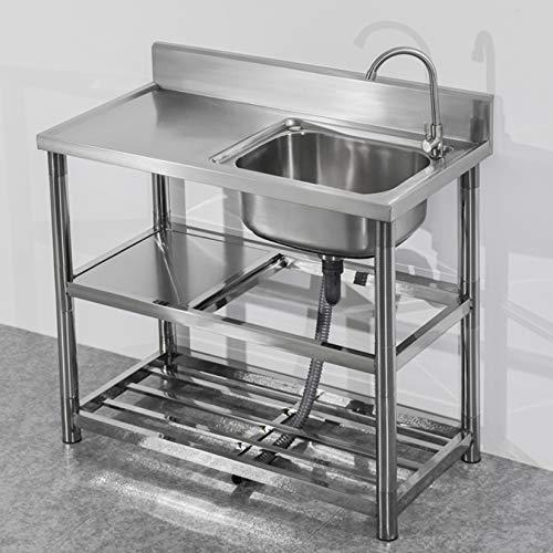 Fregadero de cocina comercial con salpicadero alto, fregadero de acero inoxidable con patas, con soporte de doble capa, fregadero de un tazón con banco de trabajo, para exteriores, interiores, garaje