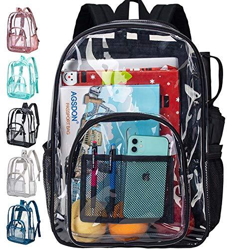 Clear Backpack, Heavy Duty See Through Backpack - Black