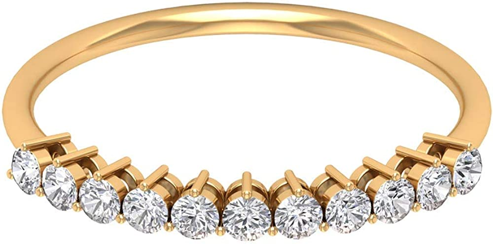 1/3 CT Moissanite Stackable Enhancer Ring (AAA Quality), 14K Solid Gold