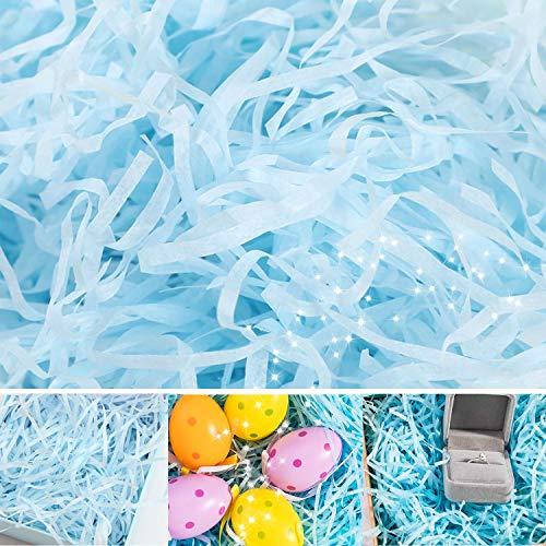 N&A 100g Geschreddertes Papier Füllmaterial aus Papier Ostern Korb Gras Raffia Geschenkfüller Papierschnitzel für DIY-Geschenkverpackungen und Korbfüllung, Partyzubehör (Blue)