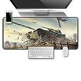 DYYTMTA Alfombrilla Raton Multifuncional Grande Gaming Mouse Pad XXL 800x300mm, Lavable, Antideslizante Diseñada para Gamers, Oficina, PC, Portáti - Tanque de avión de Guerra
