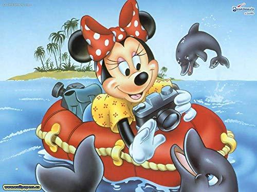 1000 piezas de rompecabezas para adultos, Minnie y el delfín, juegos de rompecabezas para la familia, rompecabezas de cartón, juegos educativos, rompecabezas de desafío cerebral para niños 38x26 cm