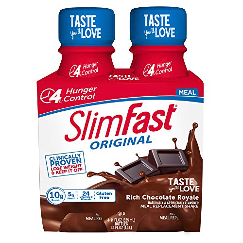 SlimFast Original Rich Chocolate Royale Shake  Ready to Drink Meal Replacement  10g of protein  11oz. Bottle  4 count