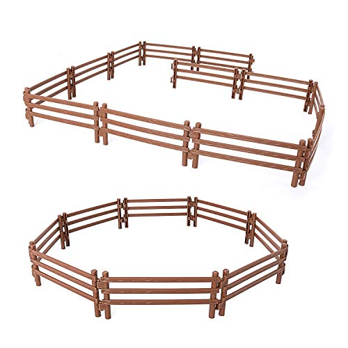 Volnau 20 Pcs Corral Fencing Panel Accessories Playset Fences Farm Figures Barn Animals for Toddlers Kids Preschool Educational Sets, BPA Free (20 Pcs Brown Fences)