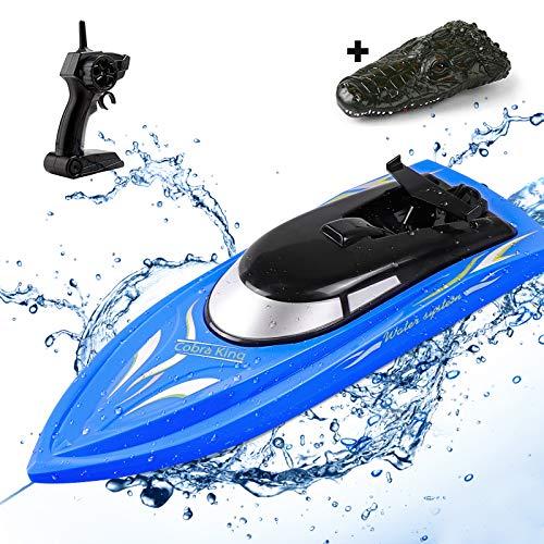 SGOTA RC Boot mit Krokodil-Gehäuse, 2,4Ghz Hochgeschwindigkeits Ferngesteuertes Boot für Pools & Seen, Ferngesteuert Boots Spielzeug für Erwachsene und Kinder, 4 Channels Wiederaufladbares RC Boat