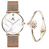 XLORDX Women's Rose Gold White Marble Wrist Watch Quartz Stainless Steel Mesh Band + Rosegold Bracelet