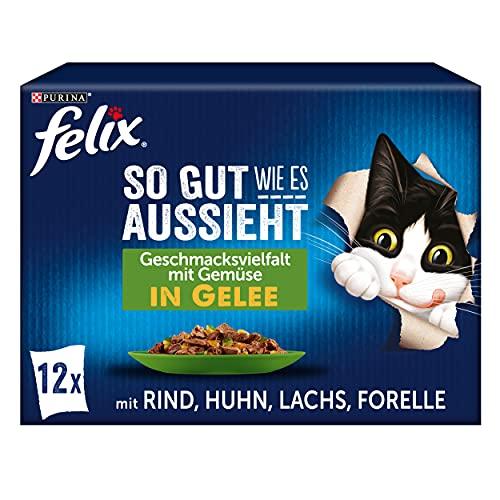 FELIX So gut wie es aussieht Katzenfutter nass in Gelee, Sorten-Mix, 6er Pack (6 x 12 Beutel à 85g)