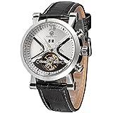 Forsining Men's Automatic Tourbillon Calendar with Leather Band Wrist Watch FSG2371M3S2