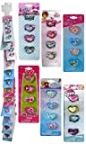 Heart-Shaped Plastic Rings 6 Packs of 4 on Clip Strip Whimsical Disney Characters in Colorful Designs Adorable Rings for Girls Dress-Up and Costume Play Magical Finger Jewlery Accessory (24pc Set)