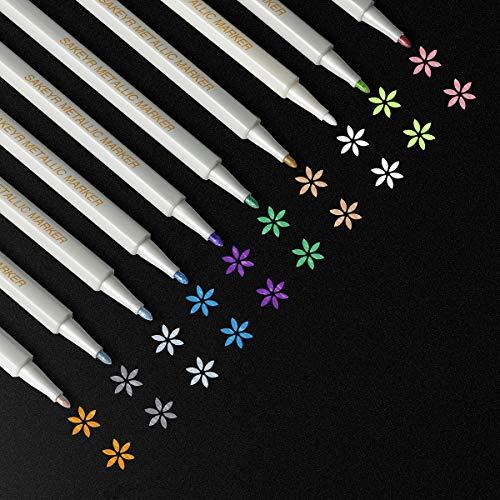 Scrapbook Markers Metallic Marker Pens for Black Paper Card Making Photo Album DIY Birthday Greeting Gift Metallic Paint Pens for Ceramic Rock Art Painting Wood Glass Plastic(10 Colors)