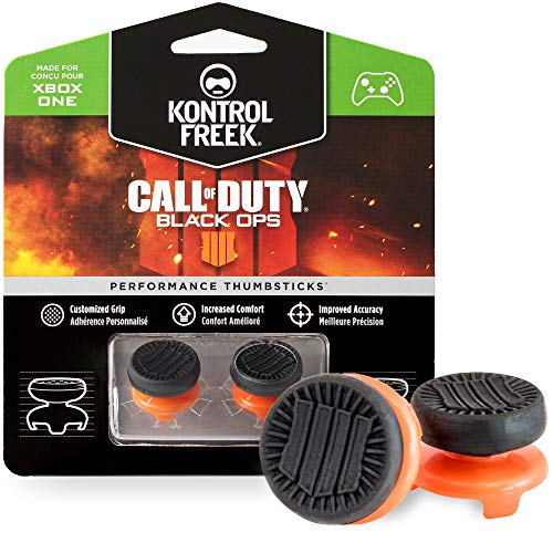 KontrolFreek Call of Duty: Black Ops 4 for Xbox One and Xbox Series X Controller | Performance Thumbsticks | 2 High-Rise | Black/Orange
