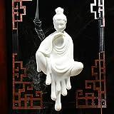 TaoRan Weihrauchbrenner Ginseng weißes Porzellan Büro Zen Ornament weiche Dekoration Rückfluss Weihrauchbrenner Keramik Ornamente kreative Holz Handwerk Geschenke-Wu Chan Guanyin -...