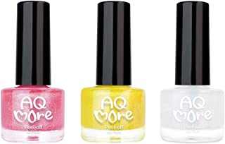 AQMORE Non Toxic Water Based Peel Off Nail Polish (Glitter) – Stays on for Days, Gel-like Shine, Dries in Minutes, Fragrance & Paraben Free, Kid Safe, 2 Glitters + 1 Top Coat(0.20 fl oz/Bottle)-ATTINA