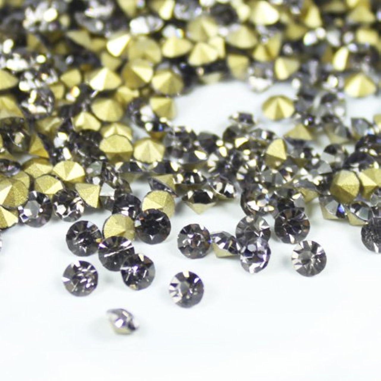 マニアック本物のセラフガラス製 Vカットストーン(埋込型)black diamond/ブラックダイアモンド 各サイズ選択可能 (2.4mm (SS8) 約1440粒) [並行輸入品]