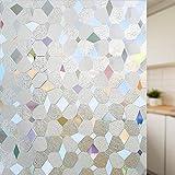 LMKJ Static Fresh-Keeping Window Film Geometric Shape Flower Decoration Glass Sticker, Used for Window Glass Privacy Sticker A55 30x100cm