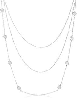 Freedom Fashion Carol 1.28ct CZ Rhodium Plated Pave Disc Layered Station Necklace