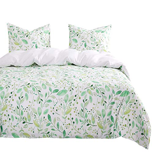 Wake In Cloud - Leaves Comforter Set, Green Leaf Plant Botanical Tree Branches Pattern Printed on White, Soft Microfiber Bedding (3pcs, King Size)