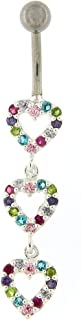 Multi Colored Crystal Stone Fancy Triple Heart 925 Sterling Silver Belly Button Ring Jewelry