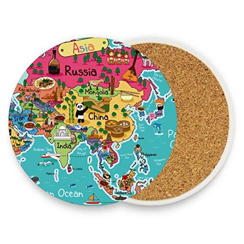 Asia Map Places of Interest Runde saugfähige Keramik Stein Getränkeuntersetzer Kaffeetassen Matten Set für Home Office Bar Küche (Set von 1 Stück), keramik, multi, 2er-Set