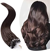 Micro Link Human Hair Extensions Micro Ring Loop Remy Hair Piece Beads Cold Fusion Stick Tipped Hair Fish Line Natural Straight Real Hair Extension For Women 16 inch 50g 100 Strands #02 Dark Brown