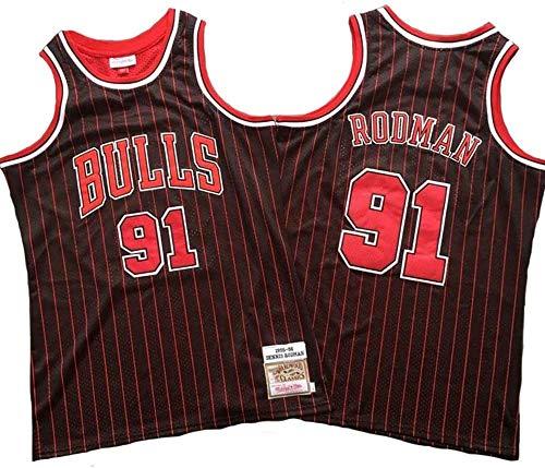 LLZYL Basket NBA Dennis Rodman Jersey # 91 Chicago Bulls Retro all-Star Jersey, Tessuto Traspirante Swingman, T-Shirt Jersey,A,XL:185cm/85~95kg