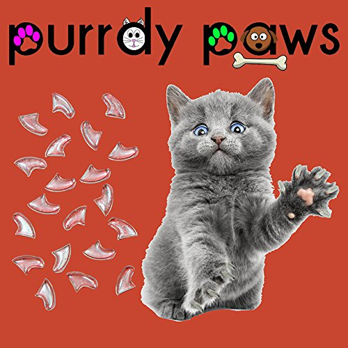 Purrdy Paws 100-Pack Soft Nail Caps for Cat Claws Clear Medium