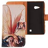Lankashi PU Flip Leder Tasche Hülle Hülle Cover Schutz Handy Etui Skin Für Nokia Lumia 730 Wing Girl Design