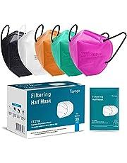 Tayogo Masker FFP2 10/20/50 Stuks CE-Gecertificeerd Mondmasker met 5-laags Filtersysteem Beschermmasker- Stofveiligheidsmaskers, Adembescherming, Wegwerpmaskers - CE 2163 EU