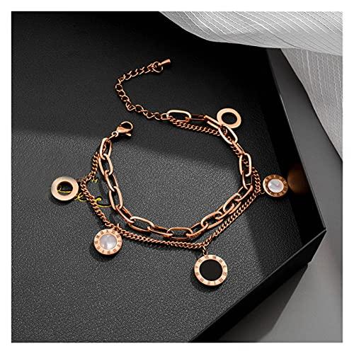 ACEACE Joyería Rosa Oro Acero Inoxidable numerales Romanos Pulseras brazaletes Mujer Encanto Pulsera (Length : 23.5cm, Metal Color : Rose Gold Color)