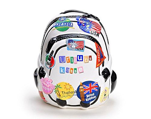 Spardose Urlaub - Rucksack als Reisekasse aus Keramik mit Urlaubskasse Schriftzug, Sparschwein mit Schloss und Schlüssel in weiß