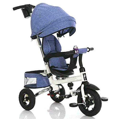 AILI -Passeggini e carrozzine 3 in 1 Sedile Girevole reclinabile Schienale Pieghevole Triciclo per Bambini Bebè Trike con baldacchino e maniglione Push Bar (Color : Blue)