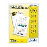 Favorit 100460237 - Portalistino con Buste Fisse e Tasca Frontale Personalizzabile per Fogli 40 Buste, A5, Trasparente