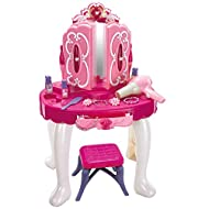 Crystals Kids Girls Vanity Fun Toy Princess Glamour Dressing Table With Mirror, Light and Sound Gift...