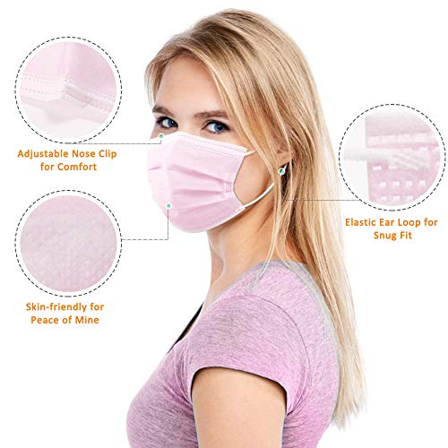 Pink Disposable Masks, Eventronic Face Mask Filters Disposable Breathable 3 Ply Mask, with Elastic Earloops (50 Pcs)