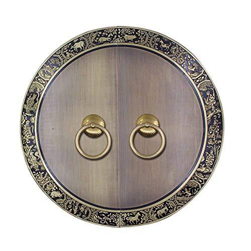Antikes Kupfer Türklopfer, Chinesischer Tierkopf Griff Möbel Türschloss Runde Beschläge Möbelgriffe Klassische Zieht-Einlochmontage aus MessingUNadel-44Cm