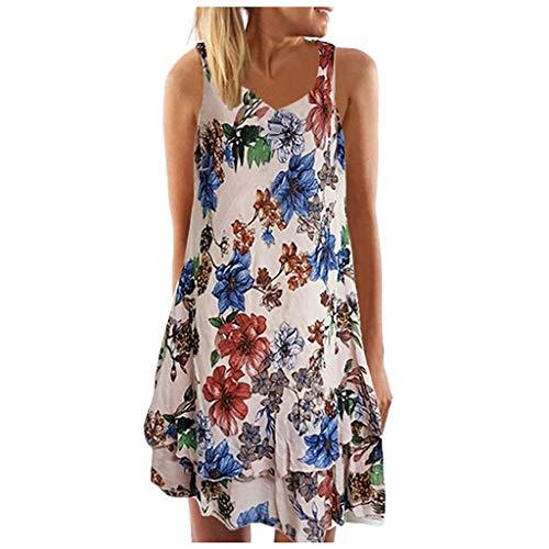 Damen Freizeitkleid, Frauen Sommer V-Ausschnitt äRmelloses BöHmen-Kleid Druck Beach Party Mini-Kleid Vintage A-Linie Minikleid Schwingen Sommerkleid
