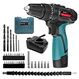 Blackpine Cordless Drills 12V Lithium-Battery 17+1 Torque Setting with 2 Speed 10mm Metal