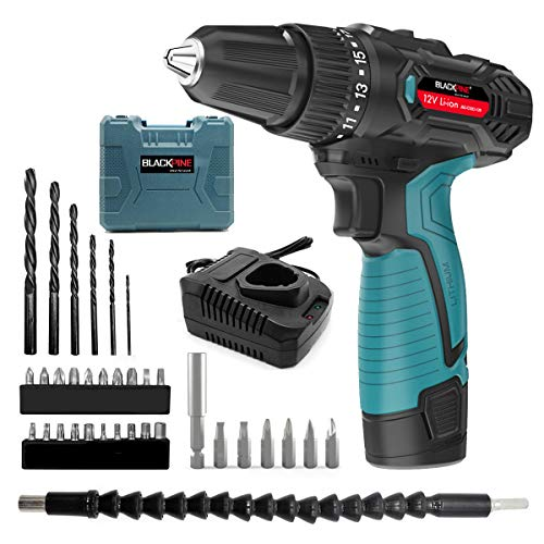 Blackpine Cordless Drills 12V Lithium-Battery 17+1 Torque Setting with 2 Speed 10mm Metal Chuck 12pcs Accessories Supercharge 1500mAh