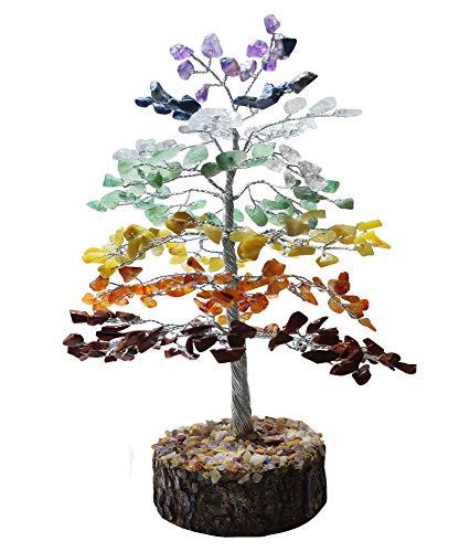 NK CRYSTALS Seven Chakra Crystal Tree Bonsai Figurines Natural Reiki Árbol de la Vida 7 Chakra Piedras Preciosas Regalos Árbol de Navidad