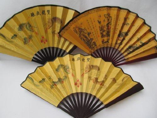 Fat-CATZ - Eventail Bois et Soie Traditionnel rétro Vintage Chinois Marron 26 cm de Long pour Mariage Style Geisha déguisement