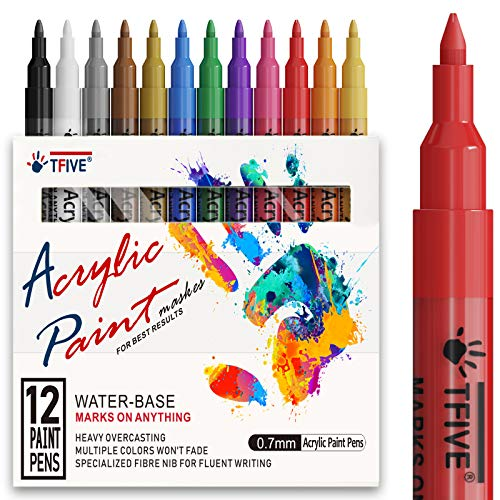 Acrylic Paint Pens Paint Markers, Waterproof Permanent Paint-Marker Pen Set for Rocks Painting, Ceramic, Glass, Wood, Fabric, Canvas, Mugs, DIY Craft Making Supplies, Work on Anything