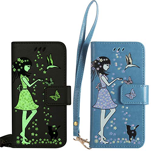 BestCatgift per Huawei Honor 6X/Mate 9 Lite Custodia [Luminous Woman Cat Design] PU Leather Flip Wallet Cover Protective Shell with [Wrist Strap] - Blue